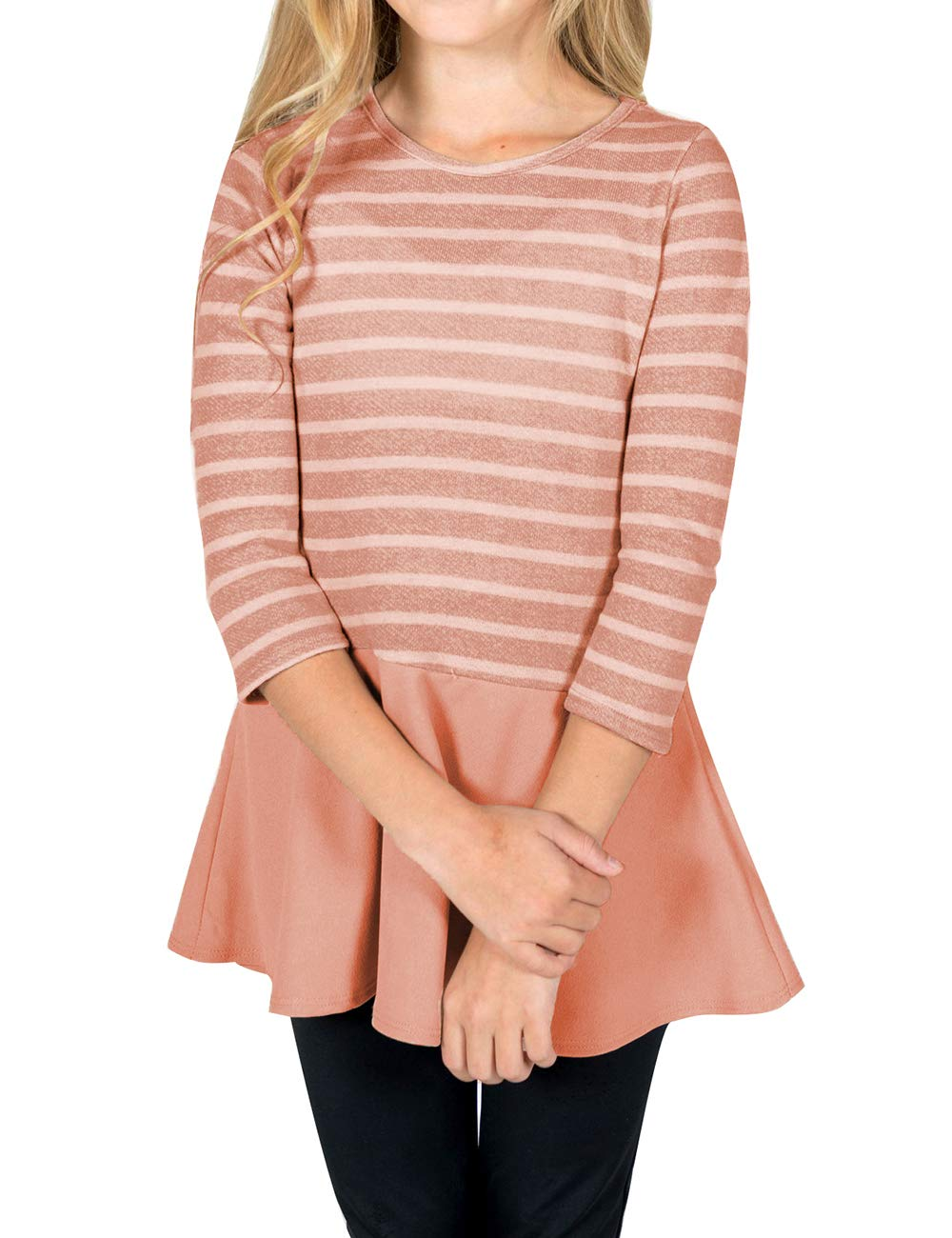 GRAPENT Girls Casual Stripe Knit Top 3/4 Sleeve Ruffle Hem Tunic Blouse 4-13 Years GP-GBLBEOED