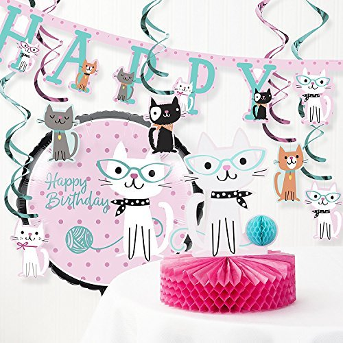 Creative Converting Purr Fect Cat Birthday Party Decorations Kit