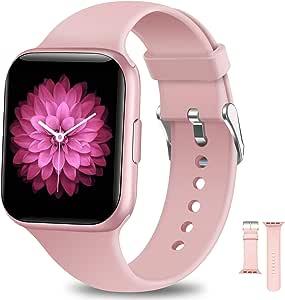 NAIXUES Smartwatch, Reloj Inteligente Impermeable IP68 para Mujer, Reloj Deportivo con Monitor de Sueño Pulsómetro Podómetro Notifica Whatsapp, Pulsera Actividad Inteligente para Android iOS (Rosa)