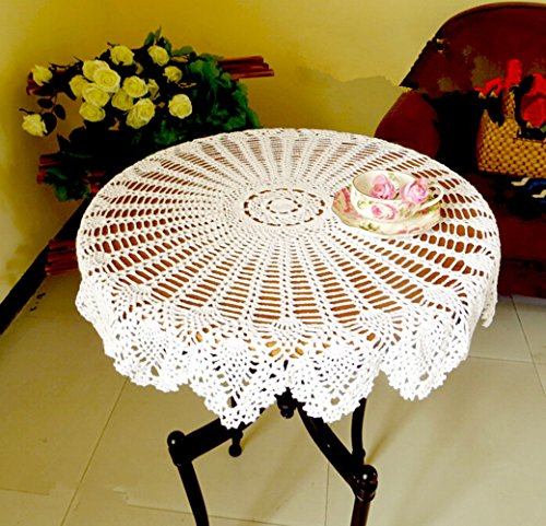 Ustide Handmade Crochet Tablecloth Rustic Cotton Table Cover Round Table Cover for Coffee Table Decoration,Table Sofa Doily, White, 31.5-inch