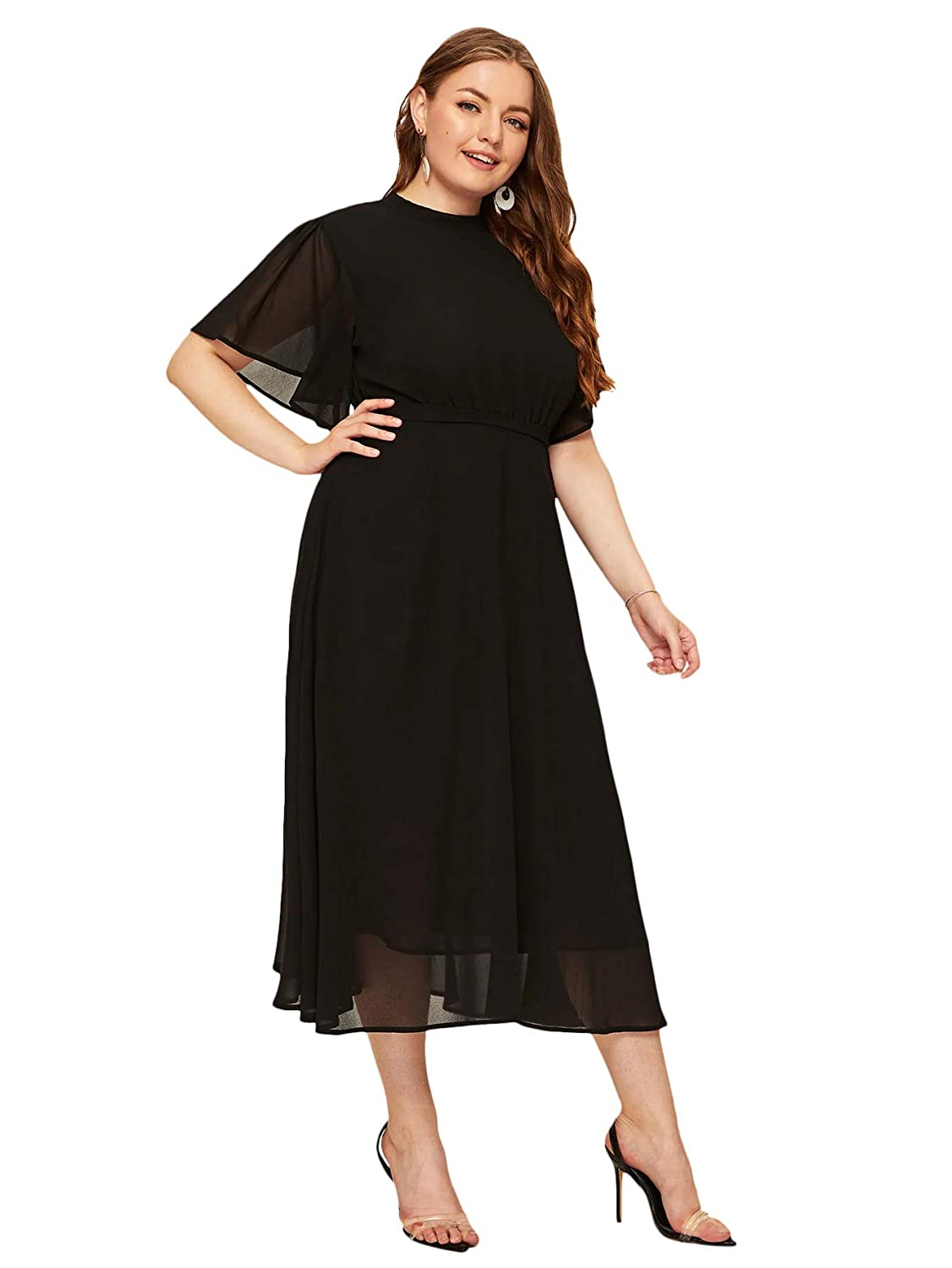 1930s Evening Dresses | Old Hollywood Silver Screen Dresses Milumia Womens Plus Size Formal Chiffon Cocktail Flounce Sleeve Maxi Party Dress $36.99 AT vintagedancer.com