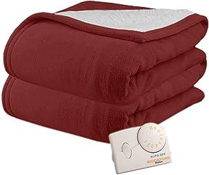Pure Warmth MicroPlush Sherpa Electric Heated Blanket Full Claret