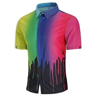 Mens Splash Ink Print Shirt Summer Slim Fit Short Sleeve Hawaiian Shirt