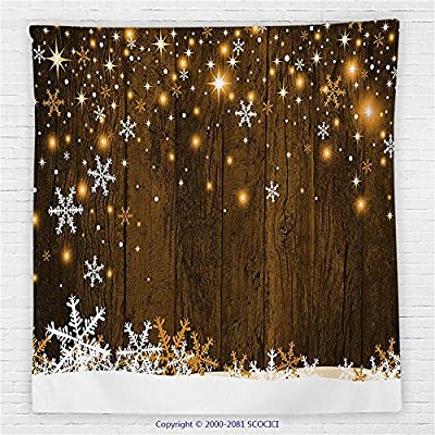 59 x 59 Inches Christmas Decorations Fleece Throw Blanket Rustic Wooden Backdrop with Snowflakes and Lights Warm Xmas Celebration Themed Blanket Brown White