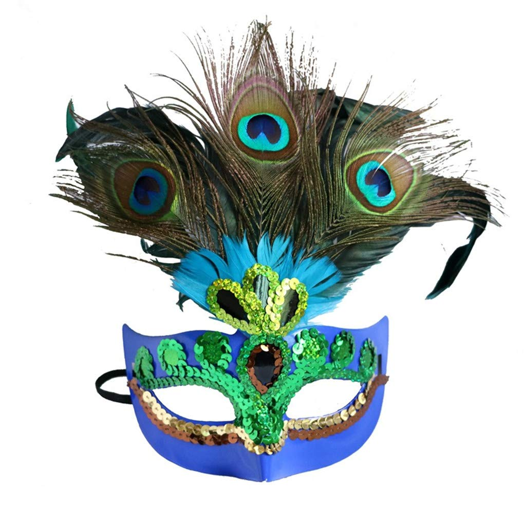 a3b406af33af Galleon - Women's Halloween Costume Venetian Masquerade Carnival Mask Mardi  Gras Costume With Feather Flowers Cosplay Party Accessory