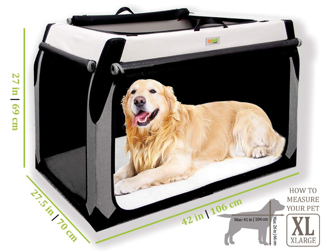 Folding Soft Dog Crate for XL Extra Large Dogs by DogGoods Indoor Outdoor Dog Kennels and Crates and Collapsible Dog Crate for Camping Car Roadtrips Extra Large Dogs Large Dogs Medium Dogs Small Dogs by DogGoods: Do Good