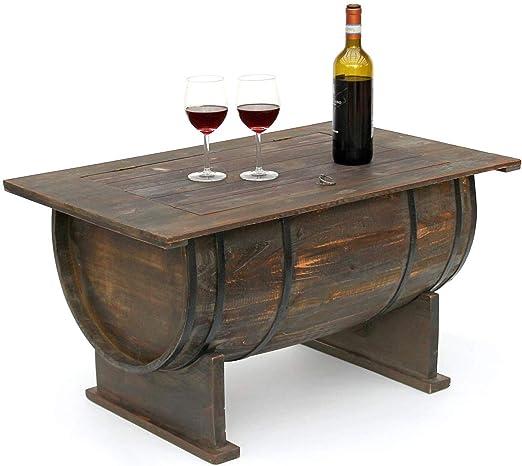 DanDiBo – Mesa auxiliar de madera de barril de vino – Estante para ...