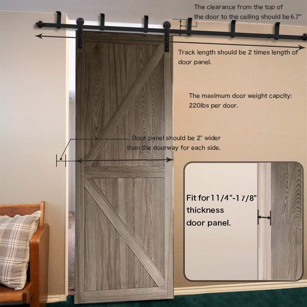 CCJH 12FT Ceiling Mount Sliding Barn Door Hardware Kit Black Low Ceiling L-Shape Bracket System I Shaped Fit 72 Wide Single Door Panel