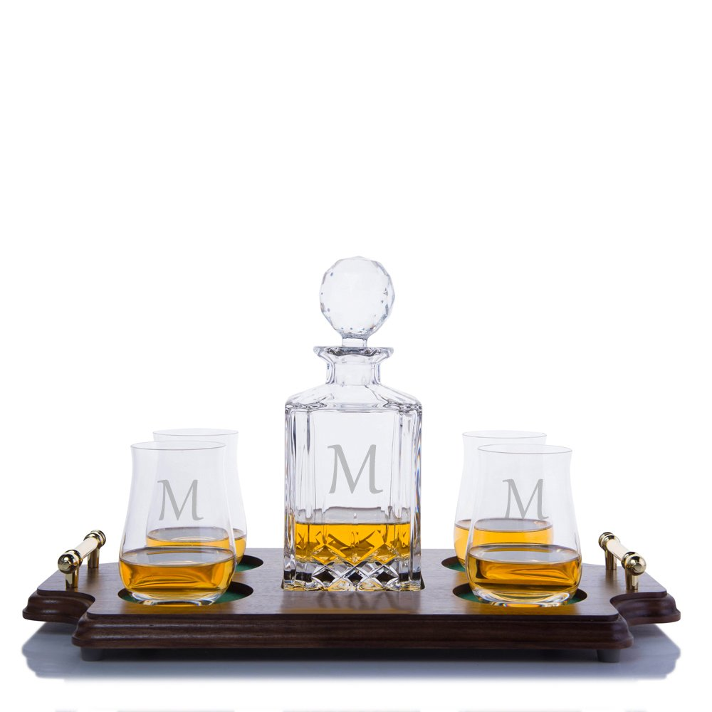 Personalized Crystalize Cut Crystal Whiskey Liquor Decanter and 4 Ravenscroft Crystal Single Malt Scotch Whisky Glasses& Walnut Serving & Presentation Tray with Brass Handles Engraved & Monogrammed