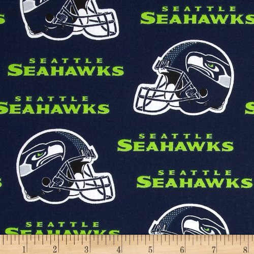 Fabric Traditions NFL Cotton Broadcloth Seattle Seahawks Blue/White Fabric by The Yard