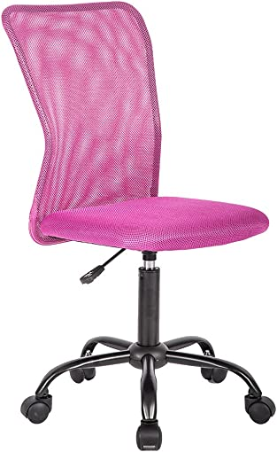 Mid Back Ergonomic Computer Office Chair Executive Desk Task Mesh Chair Rolling Swivel Chair with Lumbar Support for Back Pain Pink