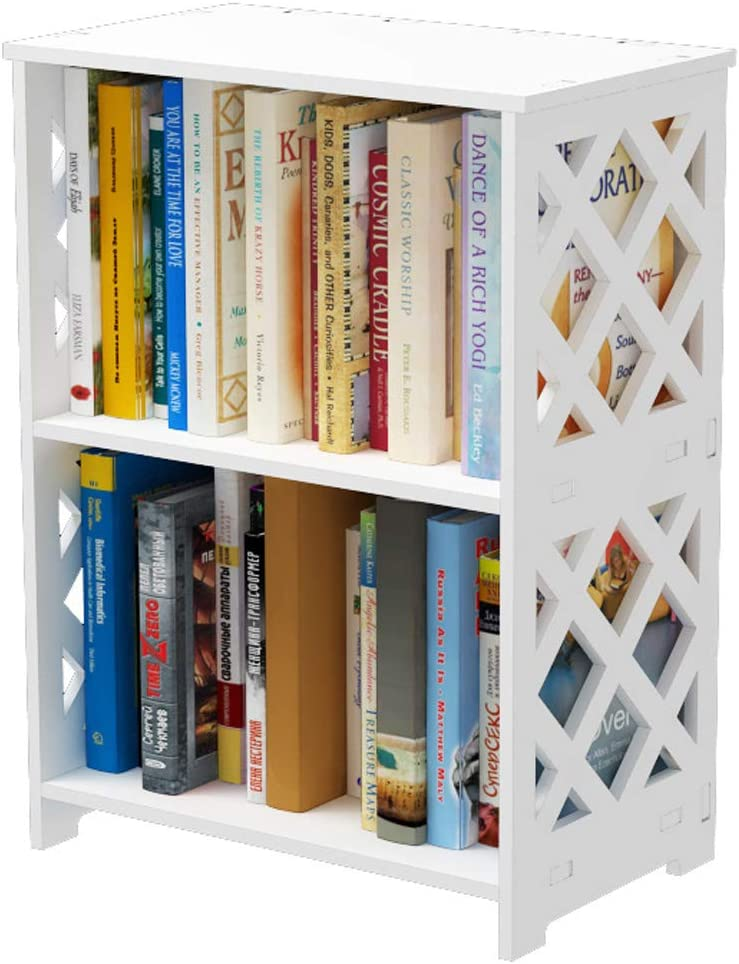 Rerii Bookcase, 2 Tier Small Kids Bookshelf, Book Organizer Storage Shelf Rack, Nightstand End Table Display Shelves for Bedroom Living Room Bathroom Office, White