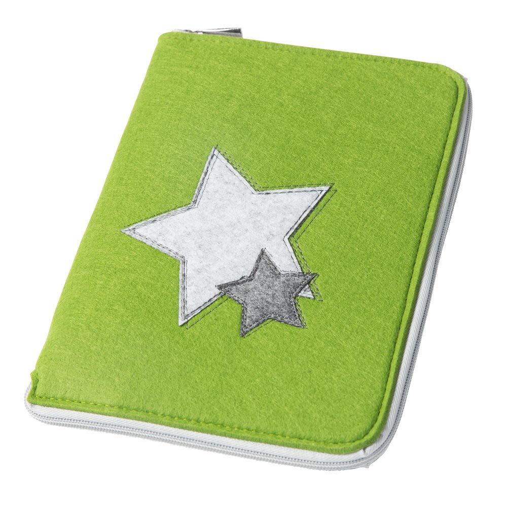 Filz H/ülle in A5 als Uheft Mom/'s Organizer Sterne mit rundum Rei/ßverschluss f/ür Mutterpass /& U-Heft dunkelgrau, Farbe w/ählbar und Mutterpassh/ülle
