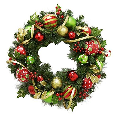 Renaissance 2000 Inc 28'' Red Green Ornament Ball Wreath