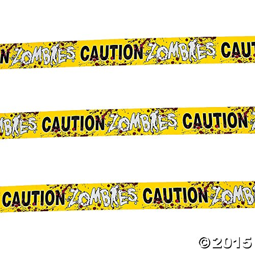 [Fun Express 1 Caution Zombies Party Tape Roll, 20'] (70's Costume Ideas For Kids)