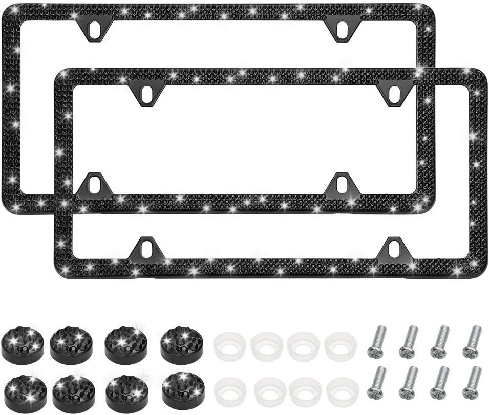 Black OTOSTAR 2PCS Universal Anti-Theft License Plate Frame Screws Fasteners Bolts Bling Crystal Rhinestones Screw Cap Covers Set Bling Car Accessories