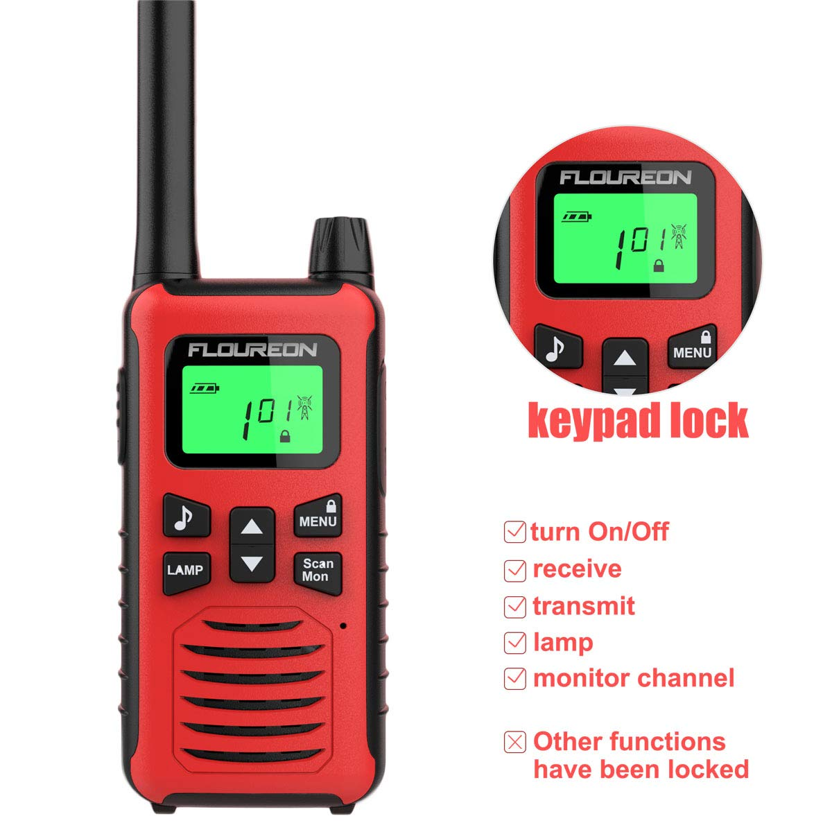 FLOUREON 4 Pack Walkie Talkies Kids 16 Channel Toy Interphone Two Way Radio with LCD Display Long Range Rechargeale for Field Survival Biking Hiking Red