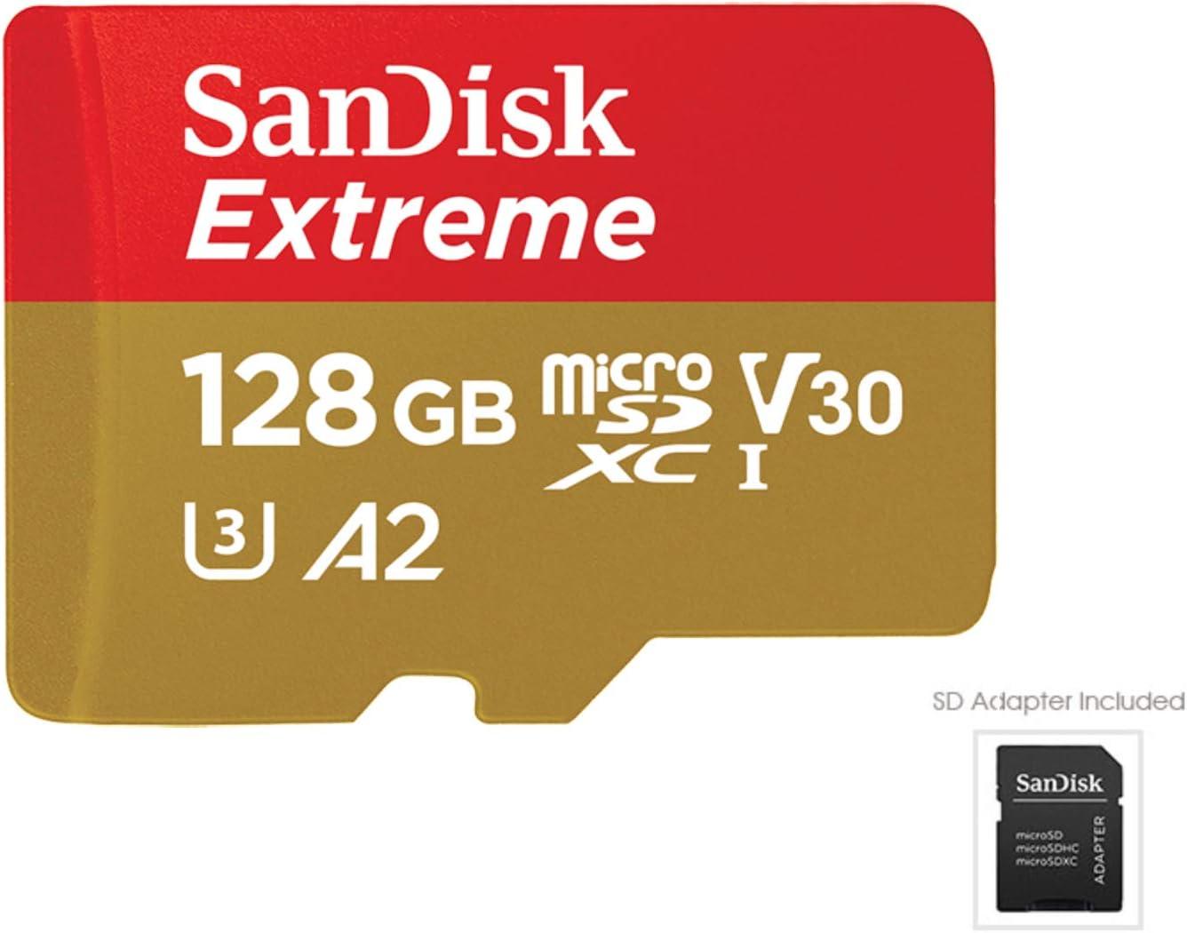 SanDisk Extreme - Tarjeta de memoria microSDXC de 128GB con adaptador SD, A2, hasta 160MB/s, Class 10, U3 y V30