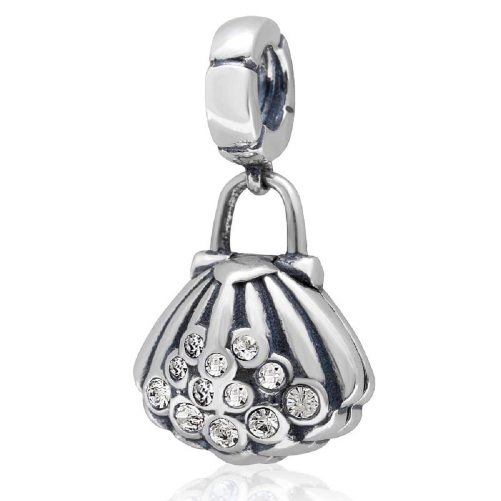Solid 925 Sterling Silver Dangling Seashell w// White Crystals Charm Bead 3189 for European Snake Chain Bracelets