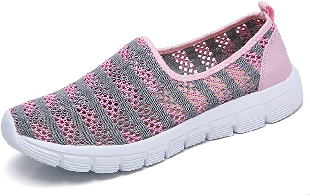 Zapatos para Corror Mujer Zapatillas de Deportiva Slip on Huecos Sneakers para Caminar Walking Calzado Malla Transpirables Loafer Ligeros Mocasines Verano Negro Azul Rosa Rojo Blanco 36-41