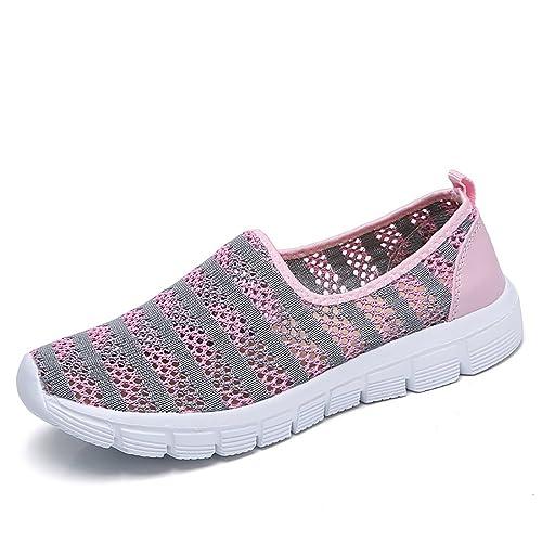 Sneakers de Deportivo Slip on Zapatos para Corror Mujer Huecos Zapatillas para Caminar Calzado de Gimnasia Malla Mocasines Ligeros Comodos Loafer Verano ...