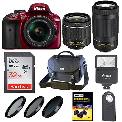 Nikon D3400 DSLR Camera w/ 18-55mm & 70-300mm Lens with Nikon Bag + Holiday Kit