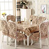 HuaShao HuaShaoThe Dining Table Chair Set Cover Home General Purpose Cloth Table Cloth Upholstery Chair Mat Kit, Light Coffee,180Cm Diameter Round Table Cloth