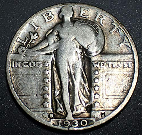 (1930 S U.S. Standing Liberty Silver Quarter Dollar, (1-Coin) Strong Full Date (1/4) Fine to XF)