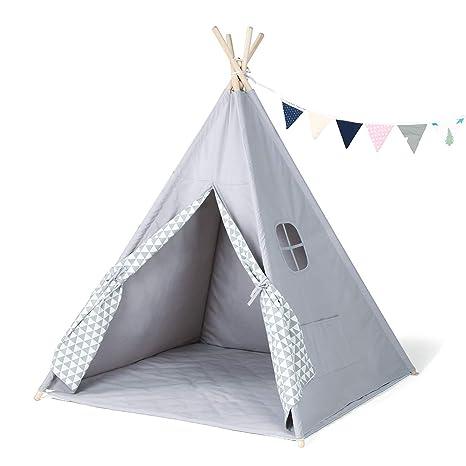 GIGALUMI Tipi Zelt mit Decke Fenster und Girlande Spielzelt ...