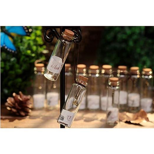 Vosarea 12 piezas mini botellas de corcho de vidrio vial plano que ...