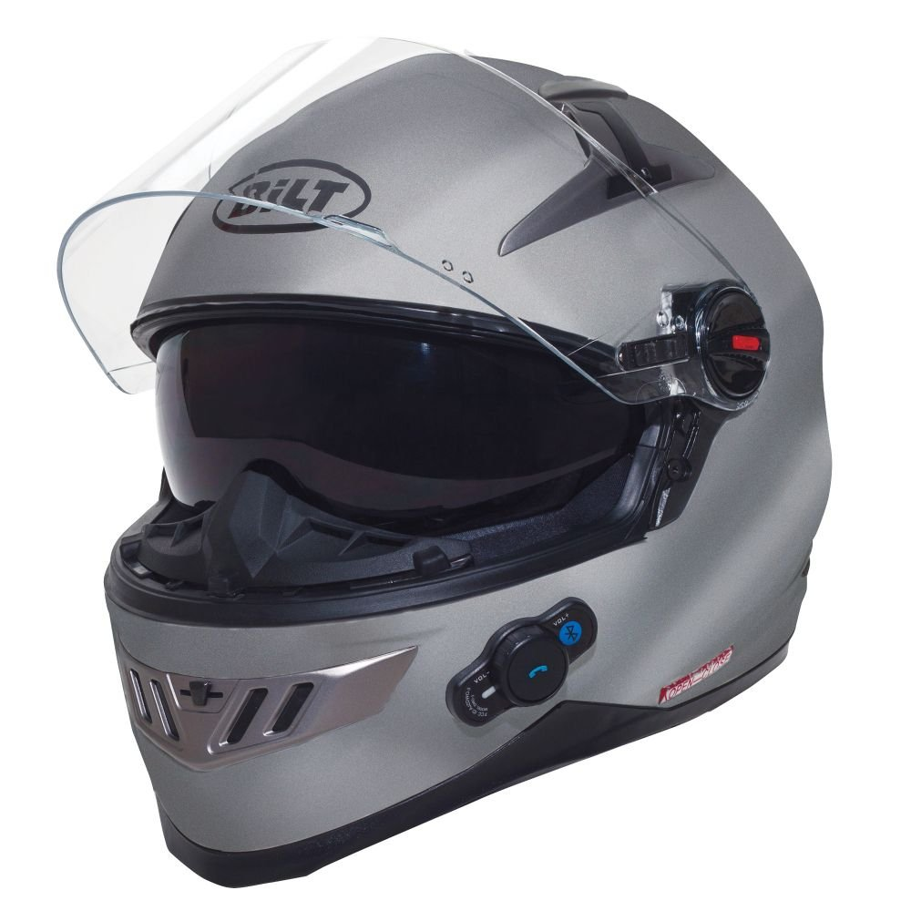 best motorcycle helmets, BILT Techno Bluetooth Full-Face Motorcycle Helmet - SM, Silver