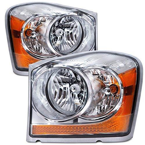 Headlights Depot Replacement for Dodge Durango Headlights OE Style Replacement Headlamps Driver/Passenger ()