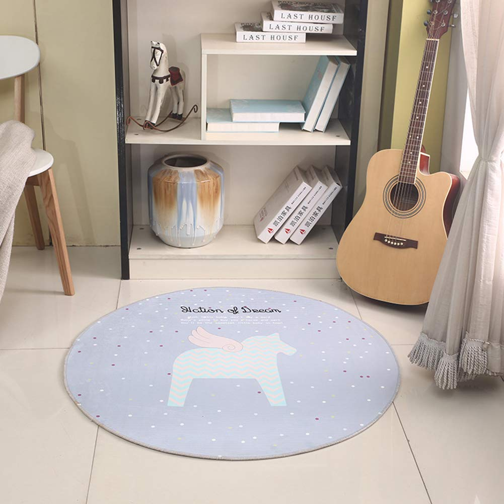 Kids Round Rug Baby Learning Play Area Mats Under Chairs Cute Horse Design for Home Decoration