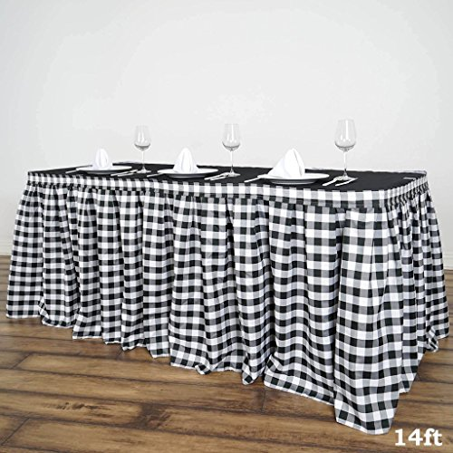 BalsaCircle 14 feet x 29-Inch Black on White Checkered Gingham Polyester Table Skirt Linens Wedding Party Events Decorations Dining