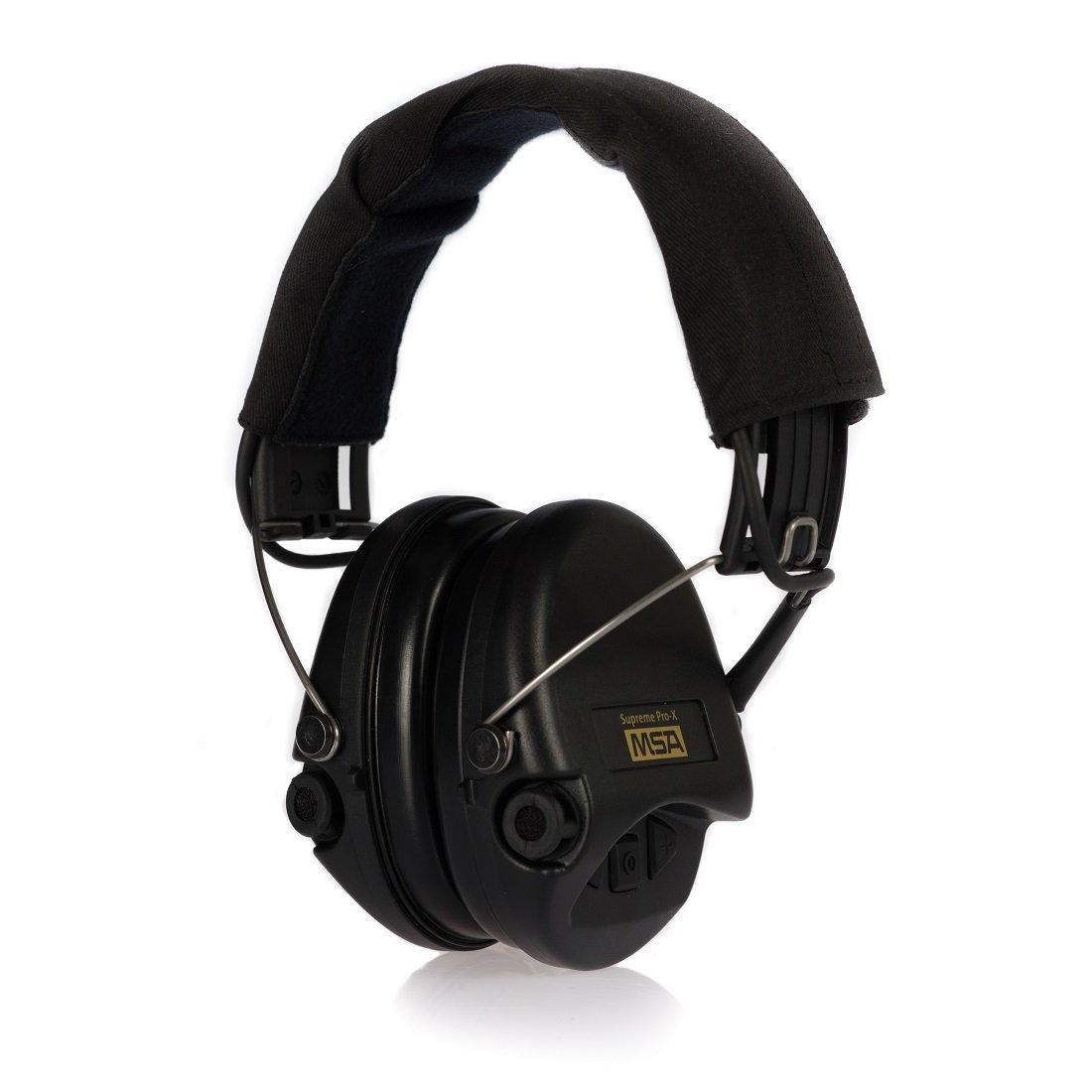 MSA Sordin Supreme Pro X - Standard Edition - Electronic Earmuff with black headband, black cups and foam seals fitted