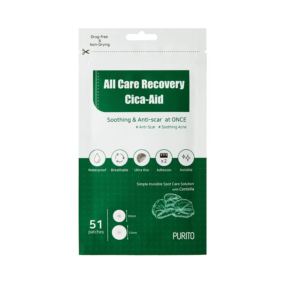 PURITO All Care Recovery Cica-Aid 51 Patches,Blemish Spot, Acne pimple spot treatment, hydrocolloid Dots, Acne patch, Pimple Master, Absorbing cover, Centella, Invisible, Healing Patch, Non-drying