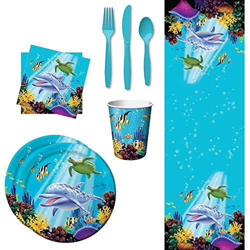 Ocean Party Table Wear Supplies Bundle, Including Table Cover, Dinner Plates, Paper Cups, Luncheon Napkins, and Cutlery for 8 Guests]()