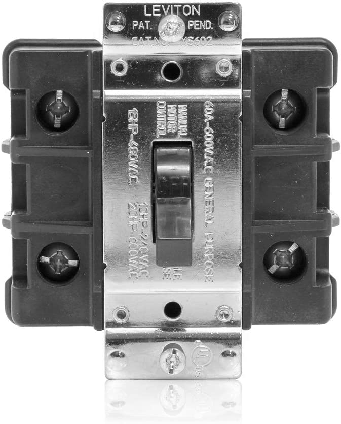 Leviton MS602-FW 60 Amp, 600 Volt, Toggle Double-Pole AC Motor Starter, Suitable as Motor Disconnect, Industrial Grade, Non-Grounding, Black