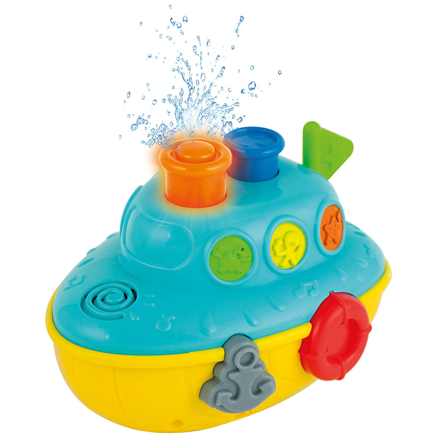 KiddoLab Musical Bath Boat. Floating Water Toy with Flashing Lights. Bath Toys for Toddlers for Baby Bathtub Playtime Fun! 9 Months+
