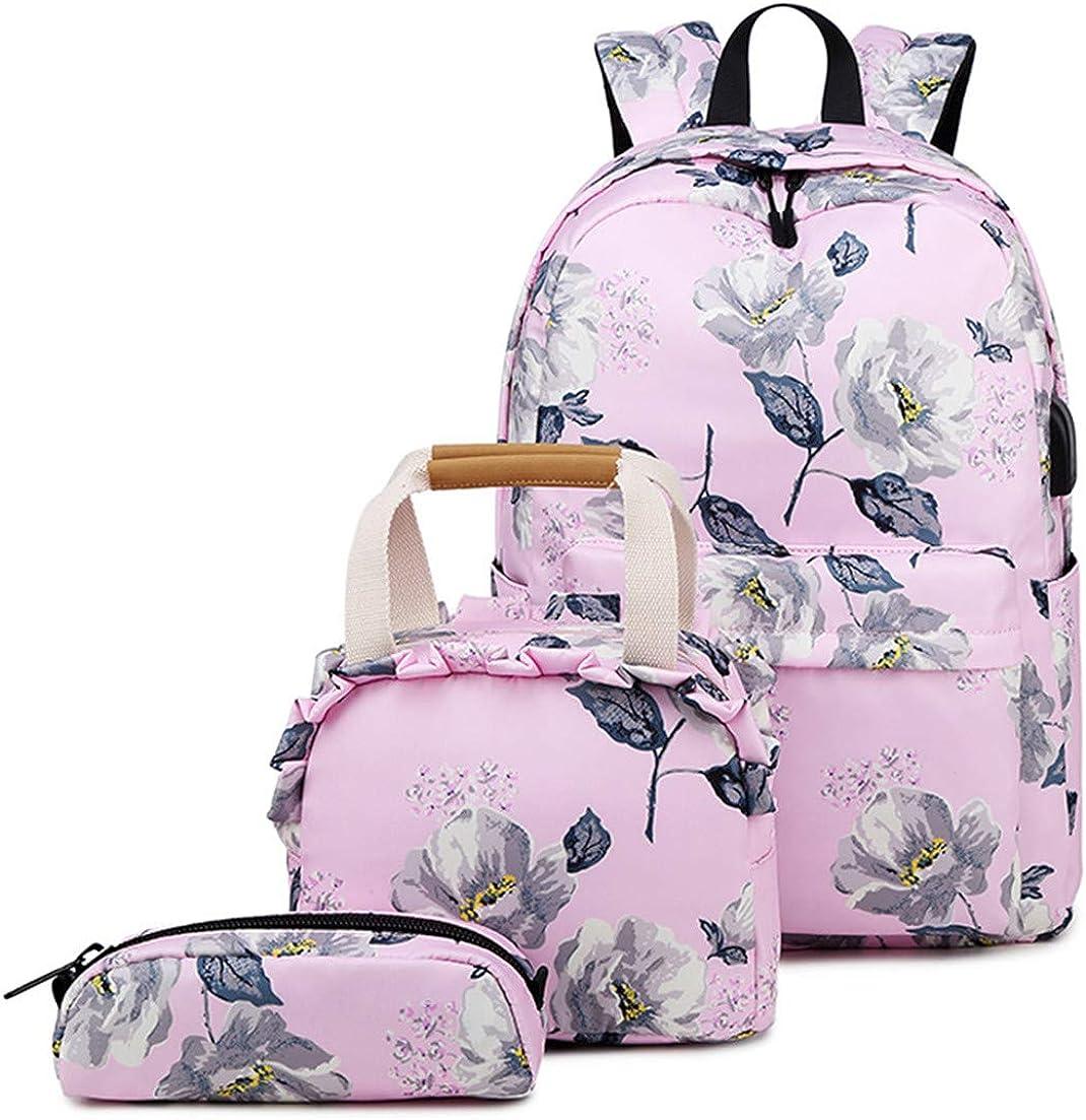 Backpack Set Flower School Bookbag Laptop Bag Daypack Lunch Tote Bag Clutch Purse Pencil Case USB 3 in 1