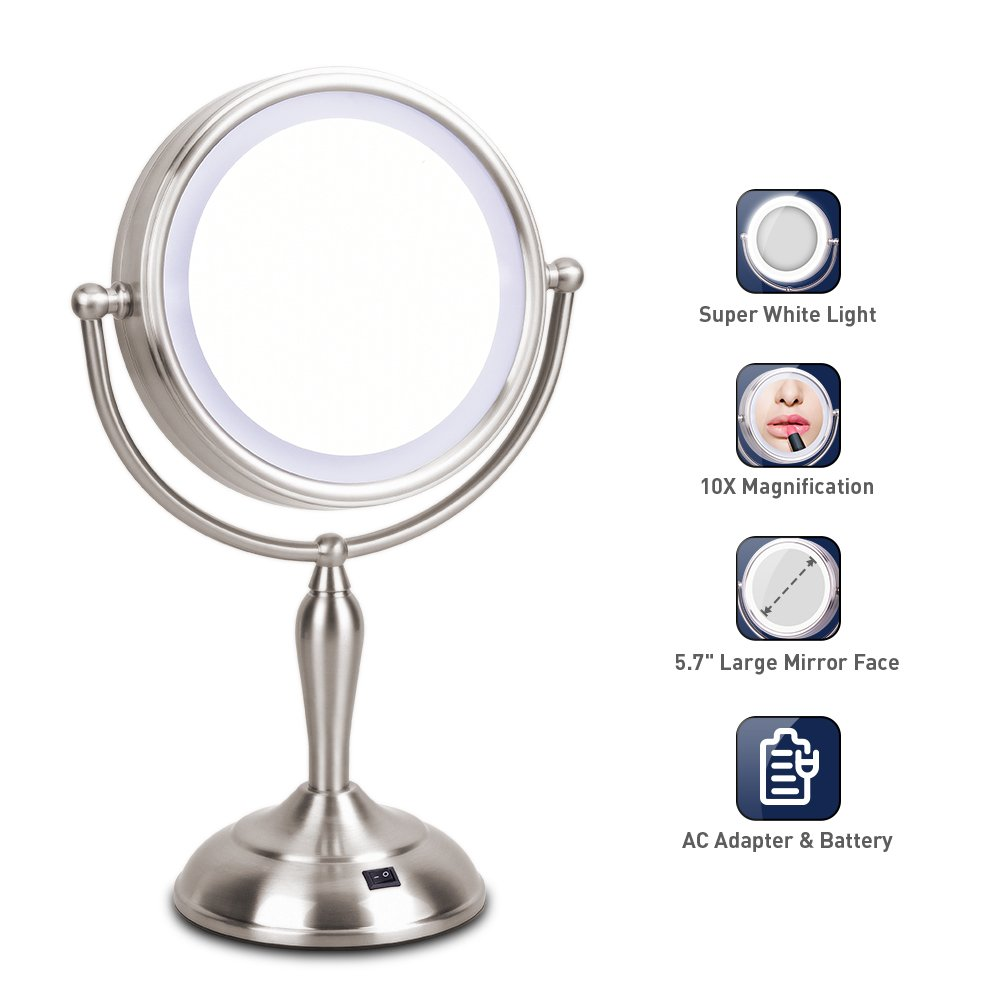 LED Makeup Mirror – Lighted Vanity Mirror with 1x/10x Magnifying, 7.5 Inch Double Sided Mirror With Stand, AC Adapter Or Battery Operated, Natural White Light, Cord Or Cordless by Mirrormore