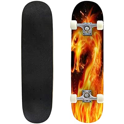 Classic Concave Skateboard Abstract Fire Dragon Head Illustration on Black Background with Longboard Maple Deck Extreme Sports and Outdoors Double Kick Trick for Beginners and Professionals : Sports & Outdoors