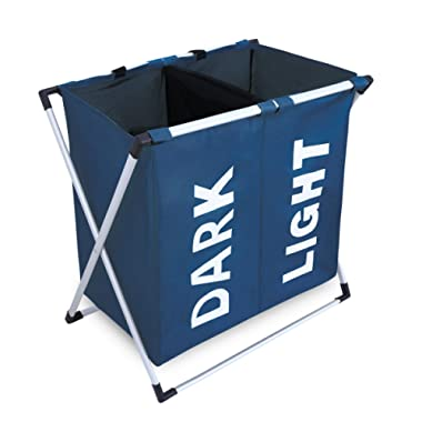 Chrislley X-frame Laundry Hamper Basket Dirty Clothes Laundry Basket Large Home Laundry Hamper Sorter Laundry Bag (Blue)