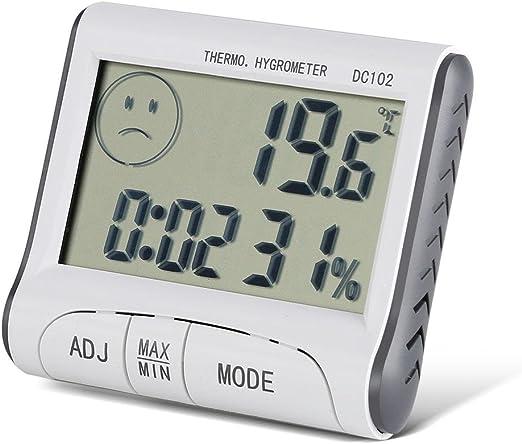 Termómetro Digital Temperatura LCD Casa Reloj Temperatura Humedad Medidor LCD higrómetro del termómetro digital interior Monitor de Humedad Medidor de temperatura: Amazon.es: Hogar