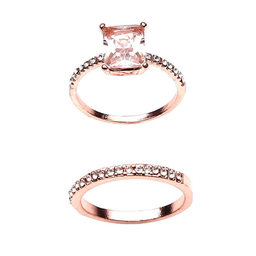 CanVivi Rose Gold Delicate Micro Inlaid Zircon Strips For Men And Women Engagement Ring,6