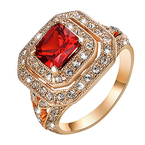 Yoursfs Vintage Wedding Band For Women Red Crystal Antique Gold Color Punk Party Cocktail ()