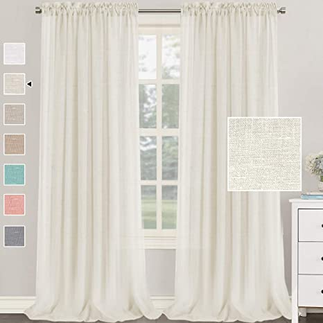 120 Length Linen Drapery Panel Solid Off White Curtains Made to Order in the USA Elephant Tusk