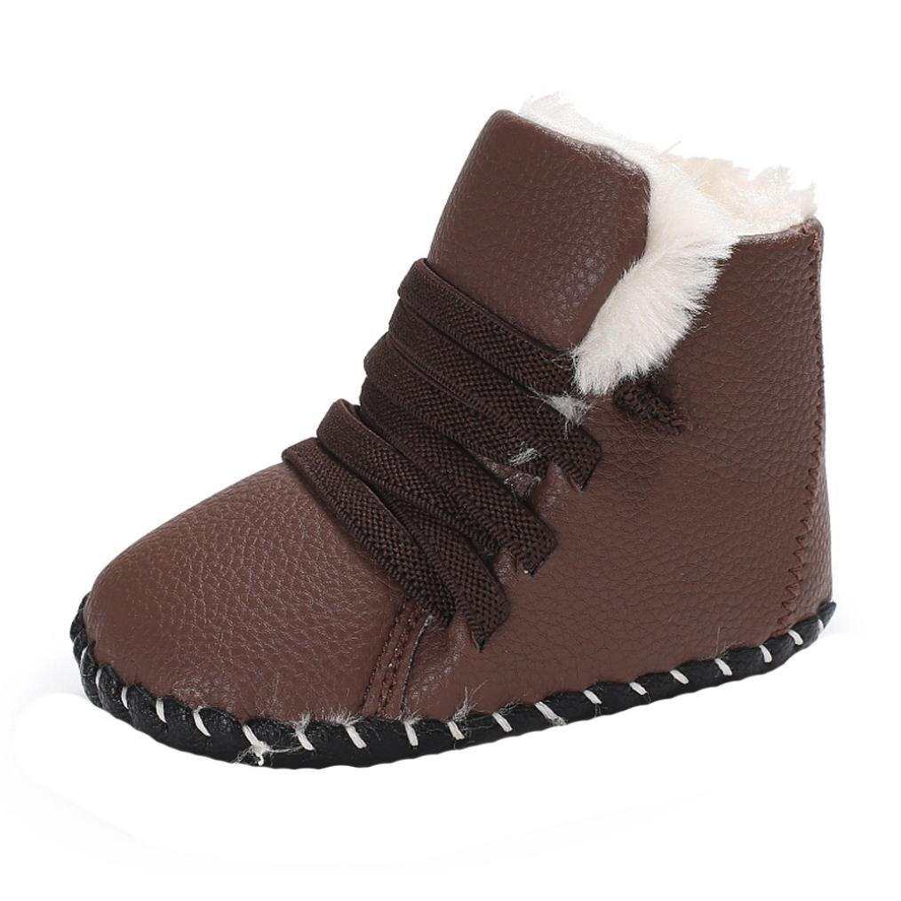 Iuhan Leather Baby Boy Girl Soft Sole Snow Boots Anti-slip Warm Crib Toddler Shoes