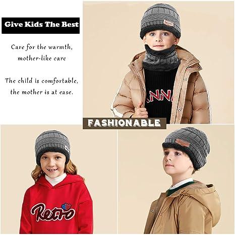 Fodera invernale in pile per bambini Sciarpa e cappello lavorati a maglia  caldi scaldati Sciarpa e sciarpa per esterni sportivi caldi e felpa per  bambini di ... d30718743ae4