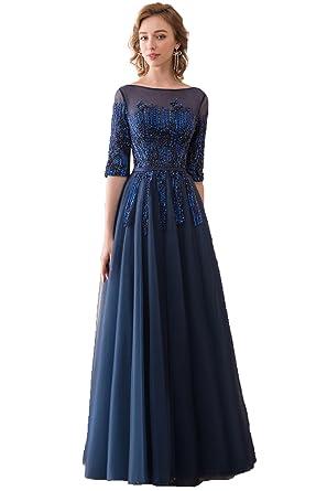 Asoiree Womens Navy Blue Half Sleeve Long Prom Dress